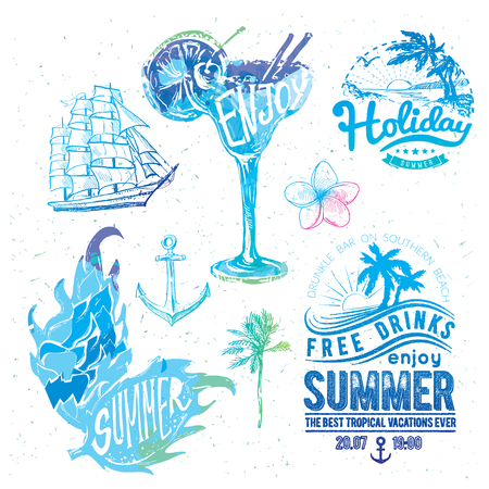 Vintage summer typography design with labels.