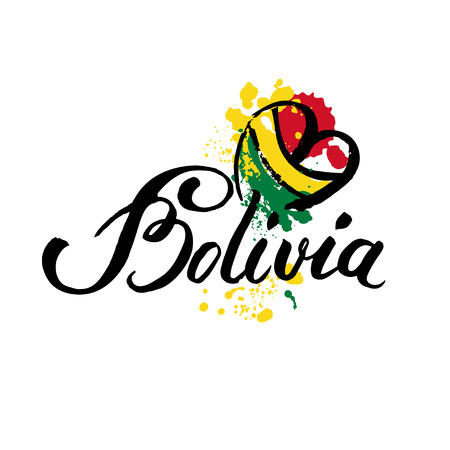 Welcome to Bolivia. Vector welcome card with national flag of Bolivia Illustration