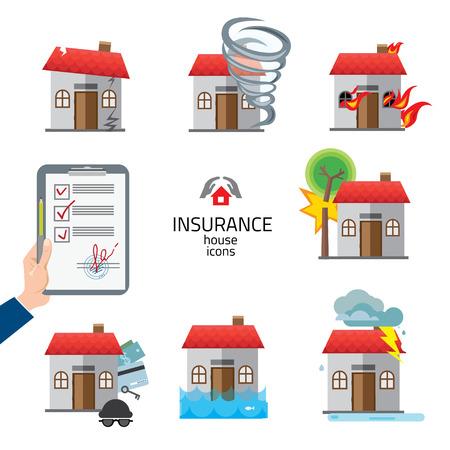 집 및 집 보험 및 위험 아이콘 그림 벡터 설정