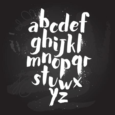 알파벳 포스터, 마른 브러시 잉크 예술적 현대 달 필 인쇄입니다. Handdrawn 최신 유행 디자인 스톡 콘텐츠