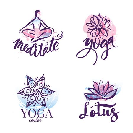 relaxar: Set of yoga studio and meditation class  , icons and design elements. Health care, sport and fitness design elements Banco de Imagens