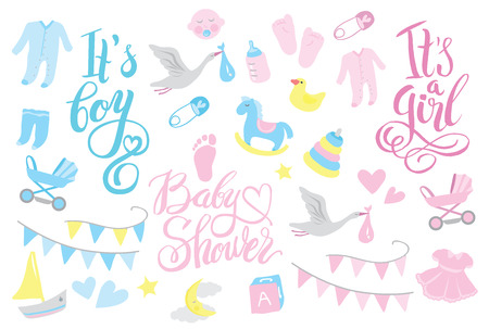 Girl and boy rattle shower invitation, lettering design illustration 版權商用圖片