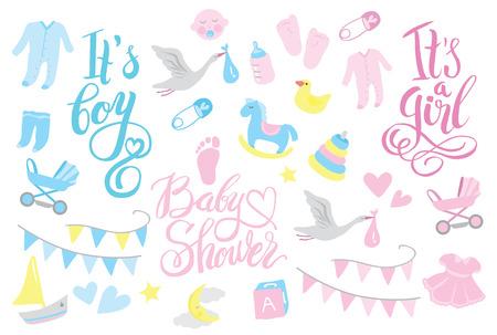 Girl and boy rattle shower invitation, lettering design illustration Foto de archivo