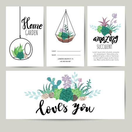 즙이 많은 식물 인사말 카드, 레터링 초대장. 꽃 벡터 배경