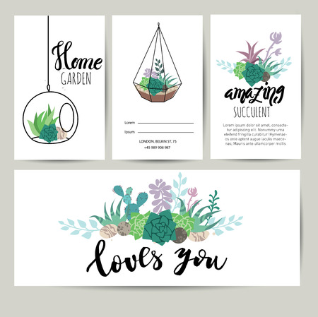Succulent plant greeting card, invitation with lettering. Flower vector background