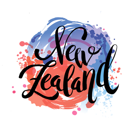 New Zealand The Travel Destination logo - Vector travel company logo design in lettering style, vector illustration  イラスト・ベクター素材