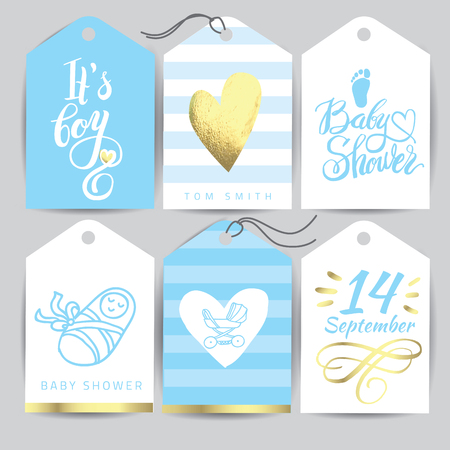 Vector blue sticker set Its a girl. Calligraphy lettering Baby shower. element for invitation design.