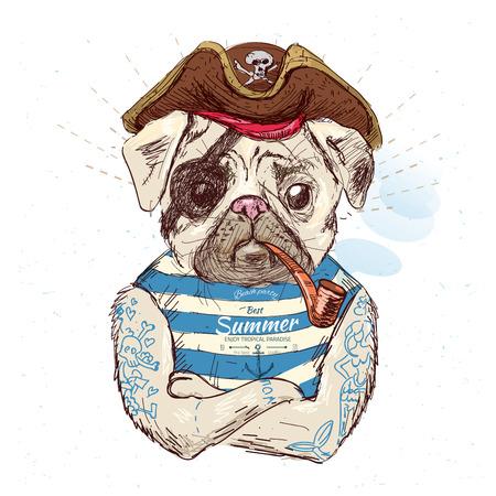 Illustration of pirate pug dog .on blue background Foto de archivo