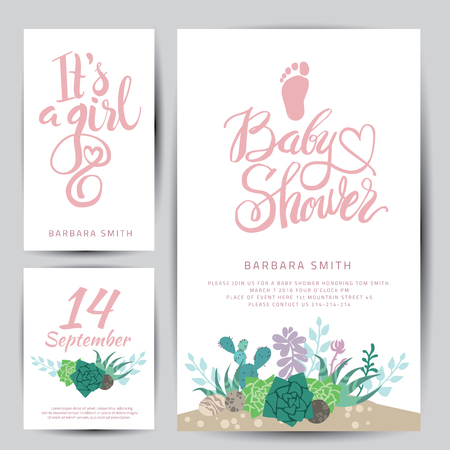 Vector girl sticker with succulents.Calligraphy lettering Baby shower. Flowers design element set for invitation design.
