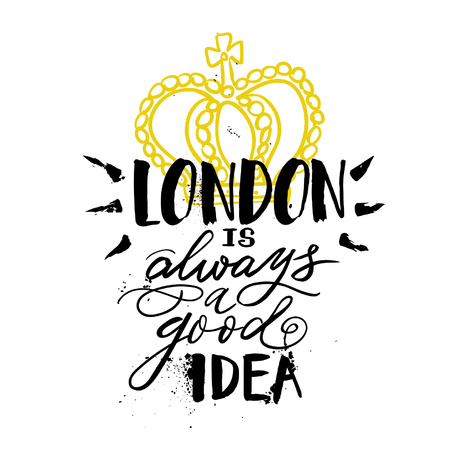 Hand drawn lettering welcome to london for card, poster, invitation, print.