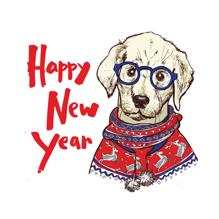 행복 한 겨울 pug 강아지 짠된 스웨터를 입고와 크리스마스 인사말 카드. 일러스트