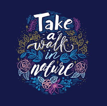 Spring letter with green leaves and text, Take a walk in nature Vectores