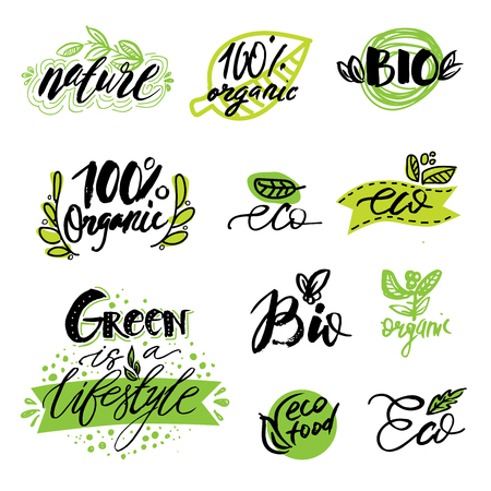 Set of , stickers, labels, tags with text. natural product, organic, healthy food. Organic food badges in vector