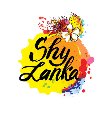 Stamp or label with the name of Sri Lanka,