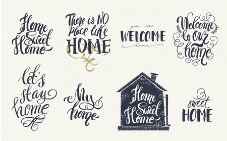 Home and welcome decor quotes signs set isolated on white background. Hand-lettering, rustic signs. 向量圖像