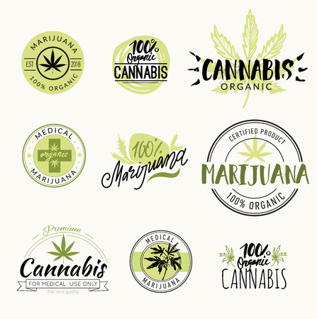 Hashish, rastaman, hemp, cannabis vector logos and labels set with lettering