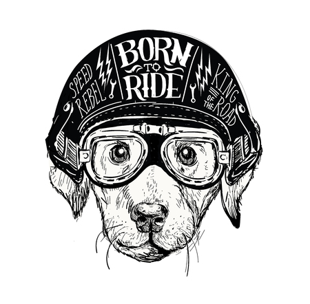 Biker dog. Set of vintage motorcycle emblems, labels, badges, logos and design elements. Monochrome style.
