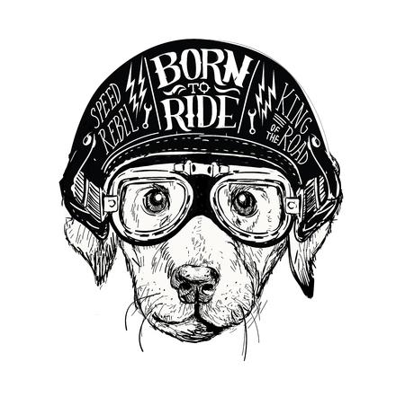 Perro motorista. Conjunto de emblemas de motocicletas vintage, etiquetas, insignias, logotipos y elementos de diseño. Estilo monocromático. Logos