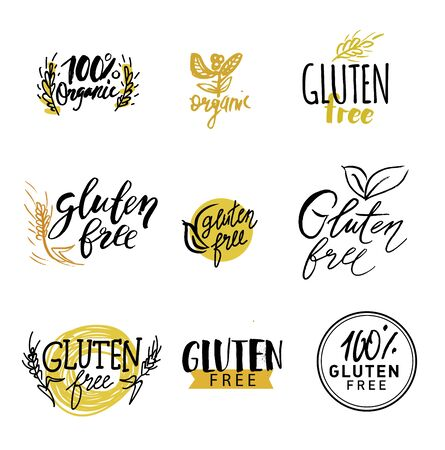 Gluten free vector. healthy dietetic product icons and labels 向量圖像