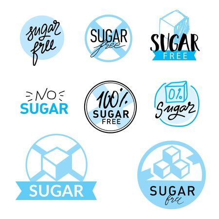 Set of label with text - Sugar free. Vector illustration. ettering typography