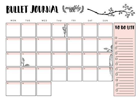 bullet journal year monthly planner. Vector illustration with handdrawing illustration. 版權商用圖片