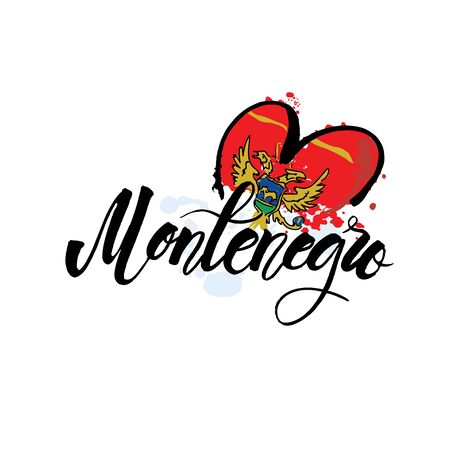 Vector logo for Montenegro, fridge magnet with montenegrin flag, original brush typeface for word montenegro, national montenegrin symbol - Cathedral of Saint Tryphon in Kotor on mountains background.
