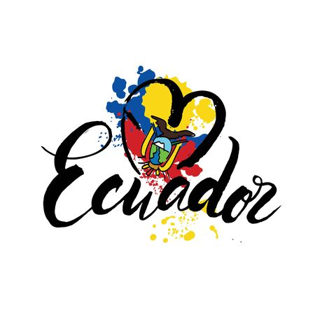 Vector logo for Ecuador country, fridge magnet with ecuadorian flag, original brush typeface for word ecuador, national ecuadorian symbol - Monastery of St. Francis in Quito on cloudy sky background. 向量圖像