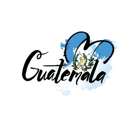 Welcome to guatemala guatemala city card and letter design in colorful rainbow color and typographic icon design 向量圖像