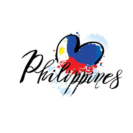 Vector logo for Philippines country, fridge magnet with filipino state flag, original brush typeface for word philippines and national filipino symbol Ilustração