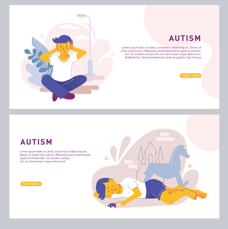 The child covers his ears with his hands and sits alone. Autism center, treatment of autism spectrum disorder, kids autism concept. Bright vector isolated illustration.