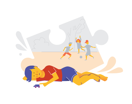 Early sign of autism. Child play alone as a symptom of mental health disease. Kid with autism sindrome. Isolated vector flat illustration. 向量圖像