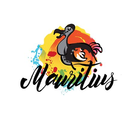 mauritius country with grunge design suitable for a logo icon design. Vector illustration of the Dodo bird. 向量圖像