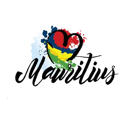 mauritius country flag concept with grunge design suitable for a logo icon design 向量圖像