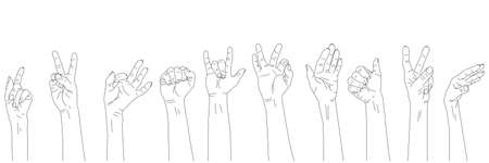 Set of 10 different gestures. Outline hands raised up. Womans and mens hands. Çizim