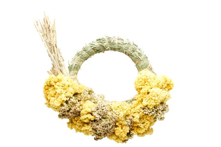 dry flowers round frame wreath pattern on white background. flat lay, top view