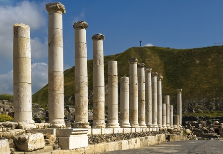 Roman columns in Israel Beit Shean Stock Photo