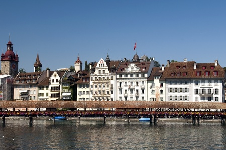 Cityscape of Lucerne with the Chapel Bridge.