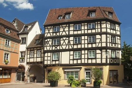 urban landscape of the historical town of Colmar in France photo