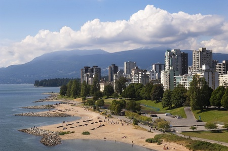 views of the coast of Vancouver on a background of mountains