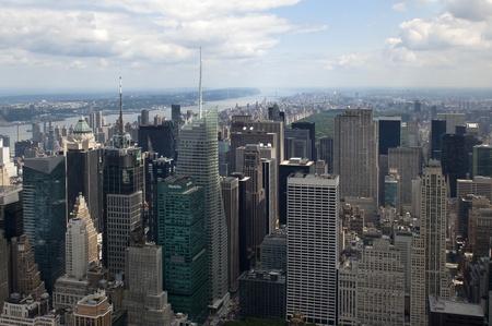 New York City view of top of buildings in midtown manhatten photo