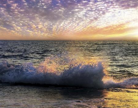 unusual sunset over the Mediterranean sea
