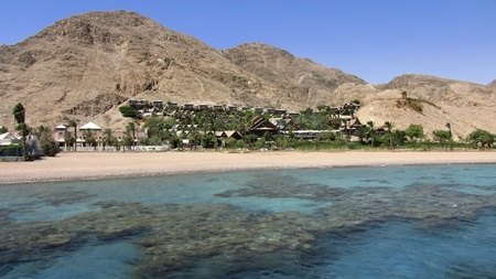 Eilat mountains view from the Red Sea Stock Photo - 12047585