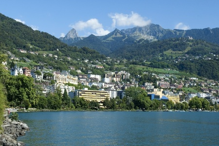 view of the lake and mountains, near the town of Montreux photo