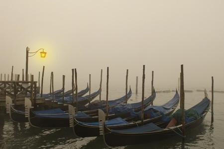 Venetian gondolas are sleeping in the night fog photo