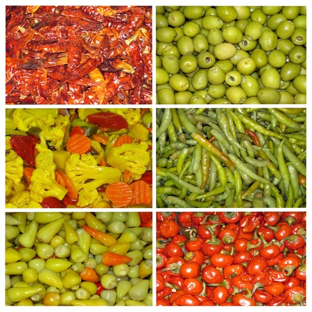 Agricultural background, colorful marinated vegetables Stock Photo - 12514951