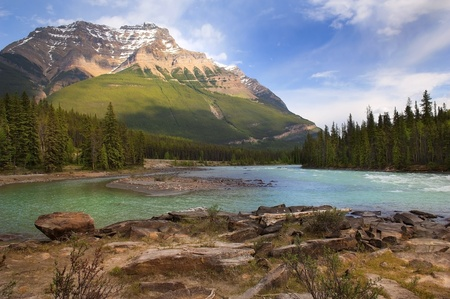 mountain view: the river flowing at the foot of the Canadian Rockies