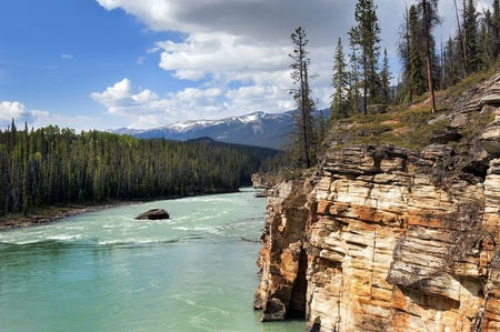 river in the valley Canadian Rocky Mountains photo