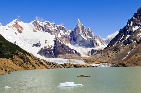 very nice view to the top of Fitz Roy, Argentina, from the glacial lake photo