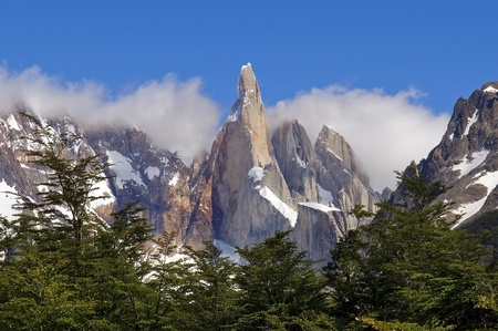very nice view to the top of Fitz Roy, Argentina, from the glacial lake Stock Photo - 12529209