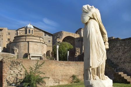 Ancient sculpture on Forum Romano,Rome,Italia Stock Photo - 12764605